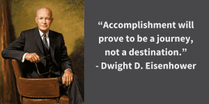 president quote by Dwight D Eisenhower with picture of him